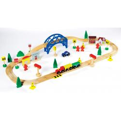 Medinis traukinukas su bėgiais