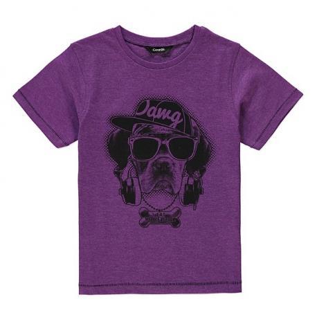 Violetiniai marškinėliai trumpomis rankovėmis